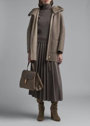 Agnona Fur Collar Zip-Front Long Cashmere Jacket