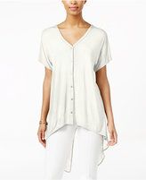 August Silk Short-Sleeve Chiffon-Back High-Low Blouse