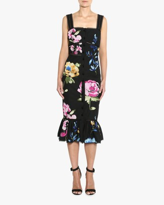 Marchesa Embroidered Ruffle-Hem Midi Dress