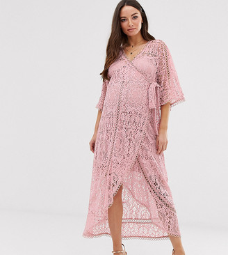 Asos DESIGN Maternity lace wrap midi dress
