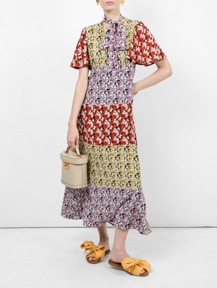Valentino Floral Silk Tieneck Dress