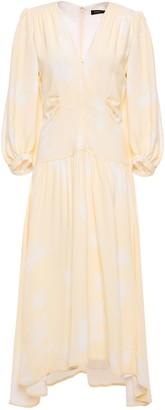 Proenza Schouler Gathered Printed Crepe Midi Dress