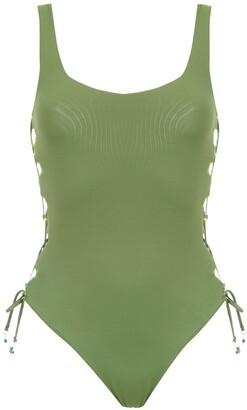 AMIR SLAMA Lace Up Detail Swimsuit