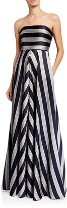 Halston Tricolor Stripe Print Duchess Satin Strapless Gown