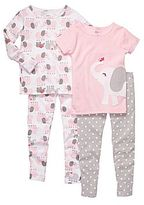 Carter's Elephant 4-pc. Pajamas - Girls 2t-5t