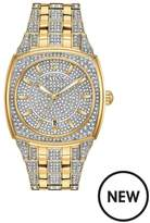 Bulova Bulova Crystal Set And Gold Detail Dial Gold And Crystal Set Stainless Steel Bracelet Watch