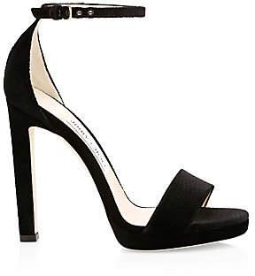 Jimmy Choo Women's Misty Lizard-Embossed Velvet Ankle-Strap Sandals