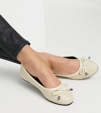 Raid Wide Fit Emma ballerina flats in bone croc