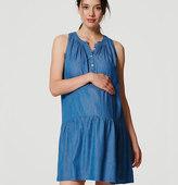 LOFT Maternity Chambray Drop Waist Dress