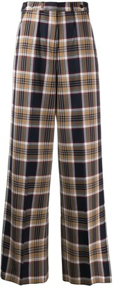 Rokh Checked Wide-Leg Trousers