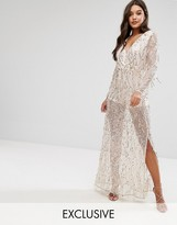 Club L Sequin Plunge Front Maxi Dress