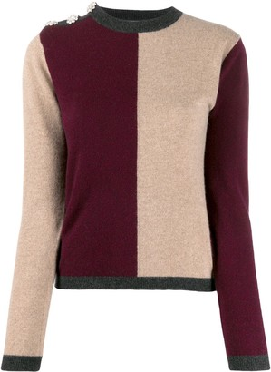 Ganni Crystal-Embellished Colour-Block Cashmere Jumper