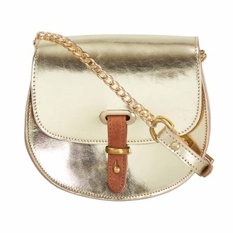 N'damus London Mini Victoria Metallic Gold Leather Crossbody Saddle Bag With Gold Chain
