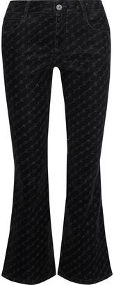 Stella McCartney The Skinny Kick Monogram-print Mid-rise Kick-flare Jeans