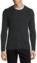 Vince Thermal Long-Sleeve Crewneck T-Shirt, Heather Black
