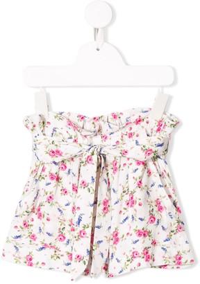 MonnaLisa Floral Print Belted Shorts
