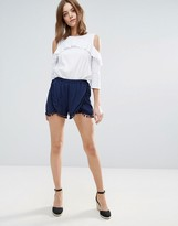Vero Moda Dolphin Shorts With Pom Pom Detail