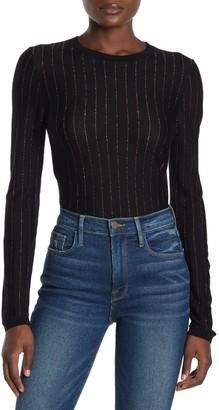 Frame Panel Metallic Stripe Long Sleeve T-Shirt