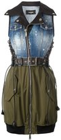 DSQUARED2 denim top bondage dress - women - Cotton/Calf Leather/Polyester/Spandex/Elastane - 38