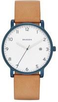 Skagen Hagen Round Leather Strap Watch, 40mm