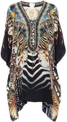 Camilla Printed silk lace-up kaftan
