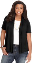 ING Trendy Plus Size Short-Sleeve Open-Front Cardigan