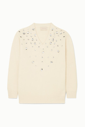 Christopher Kane Oversized Crystal-embellished Cashmere And Silk-blend Sweater - Cream