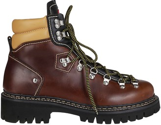 DSQUARED2 Brown Leather Hiking Boots