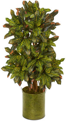 Nearly Natural 3.5' Croton Artificial Plant in Green Tin Planter
