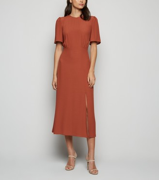 New Look Short Sleeve Side Split Midi Dress