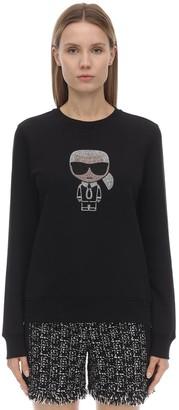 Karl Lagerfeld Paris Embellished Cotton Blend Sweatshirt