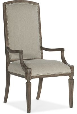 Hooker Furniture Upholstered Arm Chair in Medium Wood (Set of 2