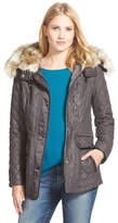 Laundry by Shelli Segal Waxy Twill Quilted Jacket with Faux Fur