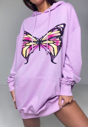 Missguided Lilac Butterfly Print Oversized Hoodie Dress