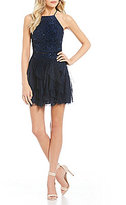 Teeze Me Sequin Lace Top with Corkscrew Skirt Two-Piece Dress