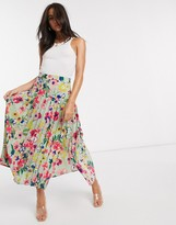 Neon Rose midaxi pleated skirt with drop waist in vintage floral
