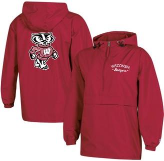 Champion Women's Red Wisconsin Badgers Packable Half-Zip Light Rain Jacket