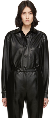 MATÉRIEL SSENSE Exclusive Black Vegan Leather Oversized Shirt