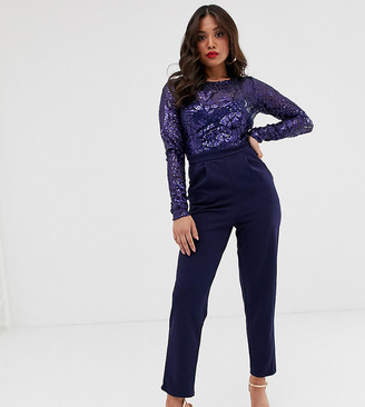 City Goddess Petite sequin bodice jumpsuit