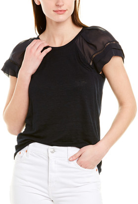 Rebecca Taylor Sheer Sleeve Silk-Trim Linen Top
