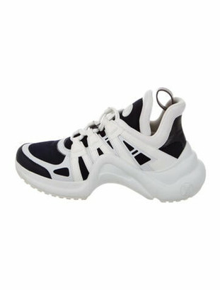 Louis Vuitton Leather Colorblock Pattern Chunky Sneakers Blue