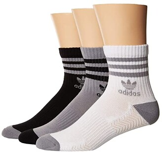 adidas Originals Roller Quarter Sock 3-Pack (White/Black/Heather Grey) Men's Quarter Length Socks Shoes