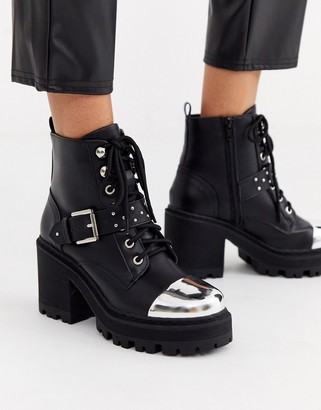 Truffle Collection heeled chunky buckle boot