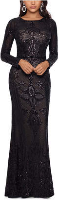 Betsy & Adam Embellished Embroidered Gown