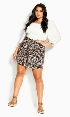City Chic Prowess Short - leopard