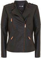Mint Velvet Black Leather Collarless Biker Jacket
