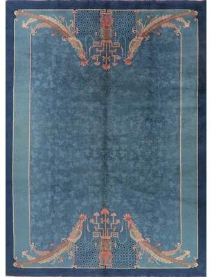 "Blue Area One-of-a-Kind Trevor Art Deco Hand-Knotted 8'11"" x 11'8"" Wool Navy Rug Astoria Grand"
