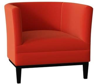 Poshbin Victoria Barrel Chair Poshbin Body Fabric: Klein Dolphin, Leg Color: Black