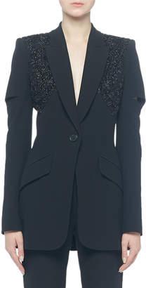 Alexander McQueen Single-Breasted Beaded-Shoulder Jacket