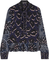 Markus Lupfer Ruffle-trimmed Printed Silk Crepe De Chine Blouse - Midnight blue
